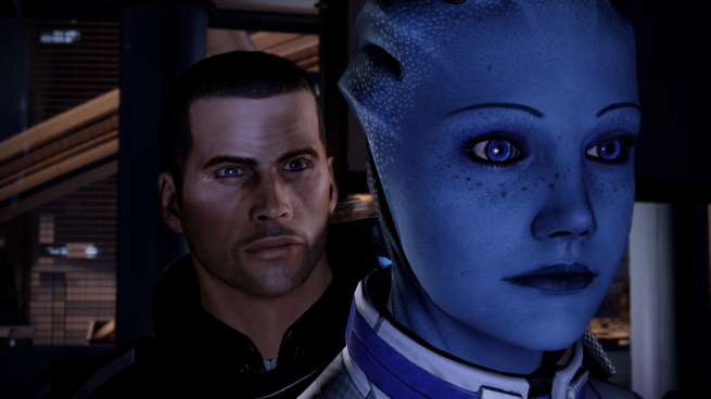 Shepard and Liara share a moment.