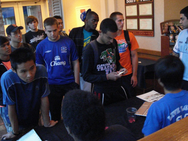 Students signing up